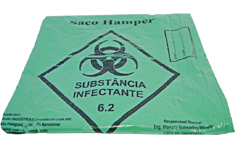 Saco Hamper Hosp Verde 75 X 90 S/ CORDÃO c/100 Unid