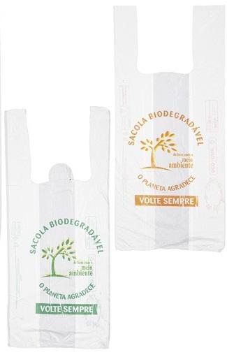 Sacola Biodegradável Impressa Planeta Agradece Reforçada L:36 X C:50